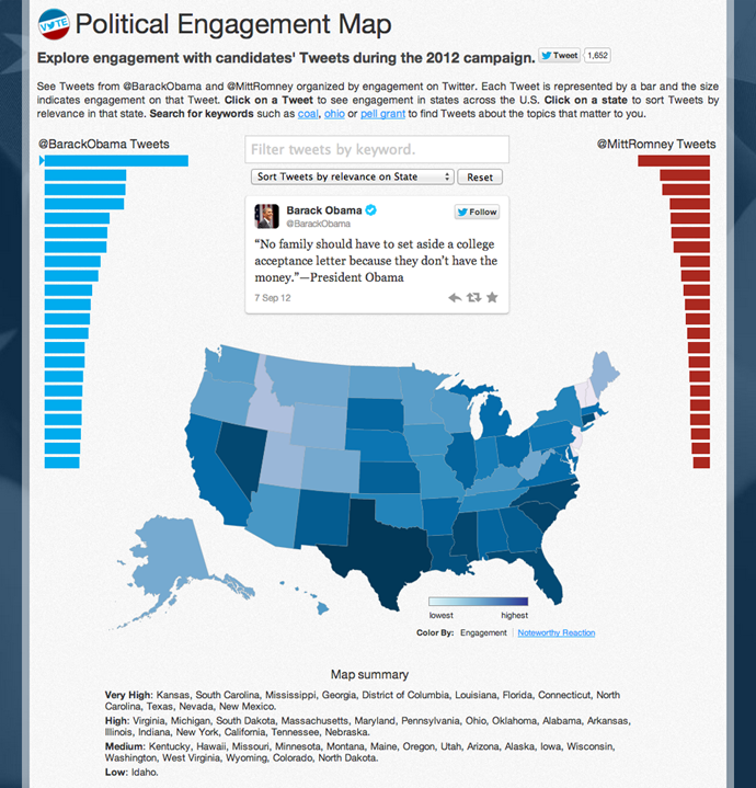 openvis2013Miguel-Political Engagement Map - Explore engagement with candidates' Tweets during the 2012 campaign.